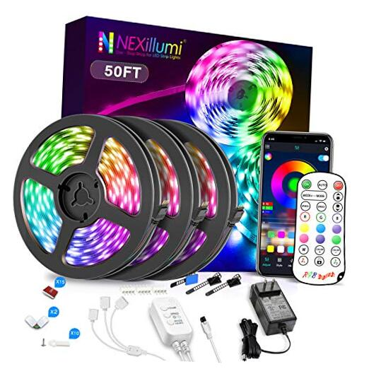 Nexillumi 50ft LED Strip Lights with IR Remote Ultra-Long LE